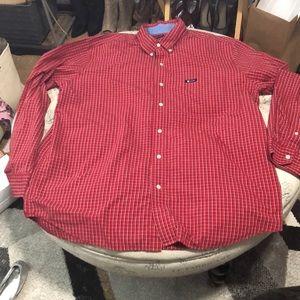 Chaps red plaid button down shirt size xl